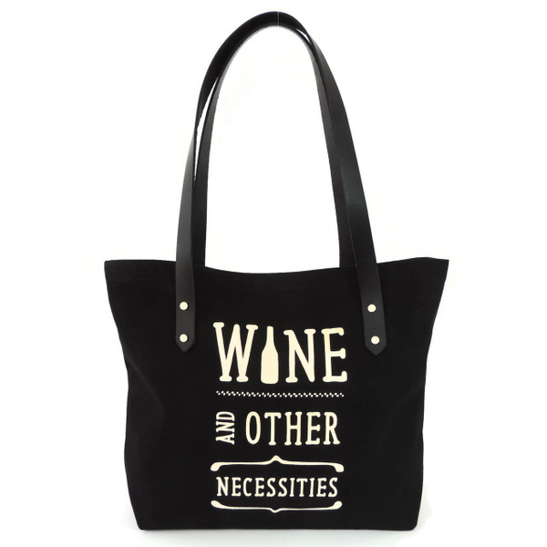 Wine & Other Necessities Canvas Market Tote in Black