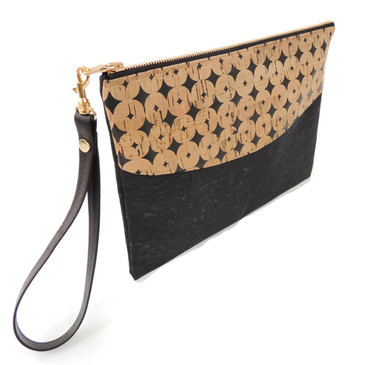 Smile Clutch in Black Cork Dots