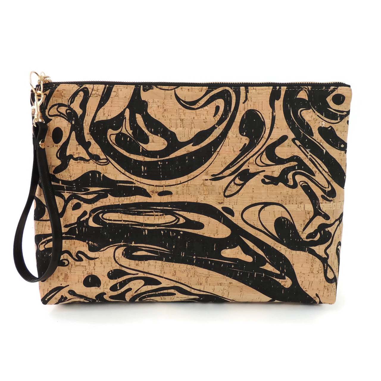 Carryall Clutch in Black Ink Cork
