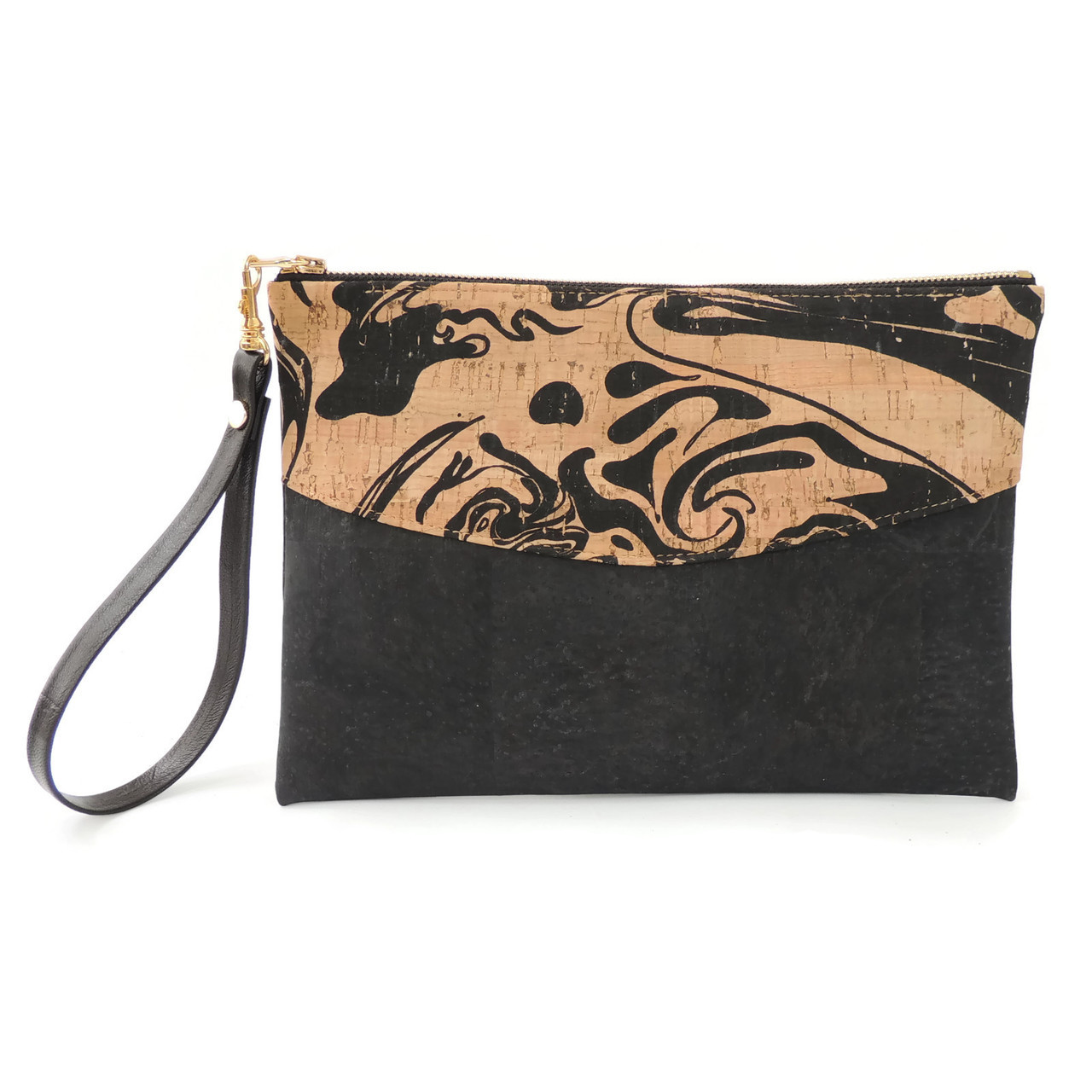 Smile Clutch in Black Ink Cork