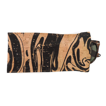 Eyeglass Case in Black Ink Cork