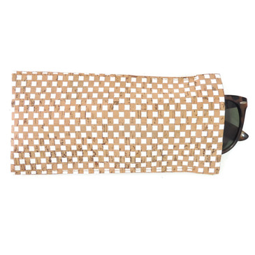 Eyeglass Case in White Check Cork