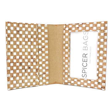 ID Wallet in White Check Cork