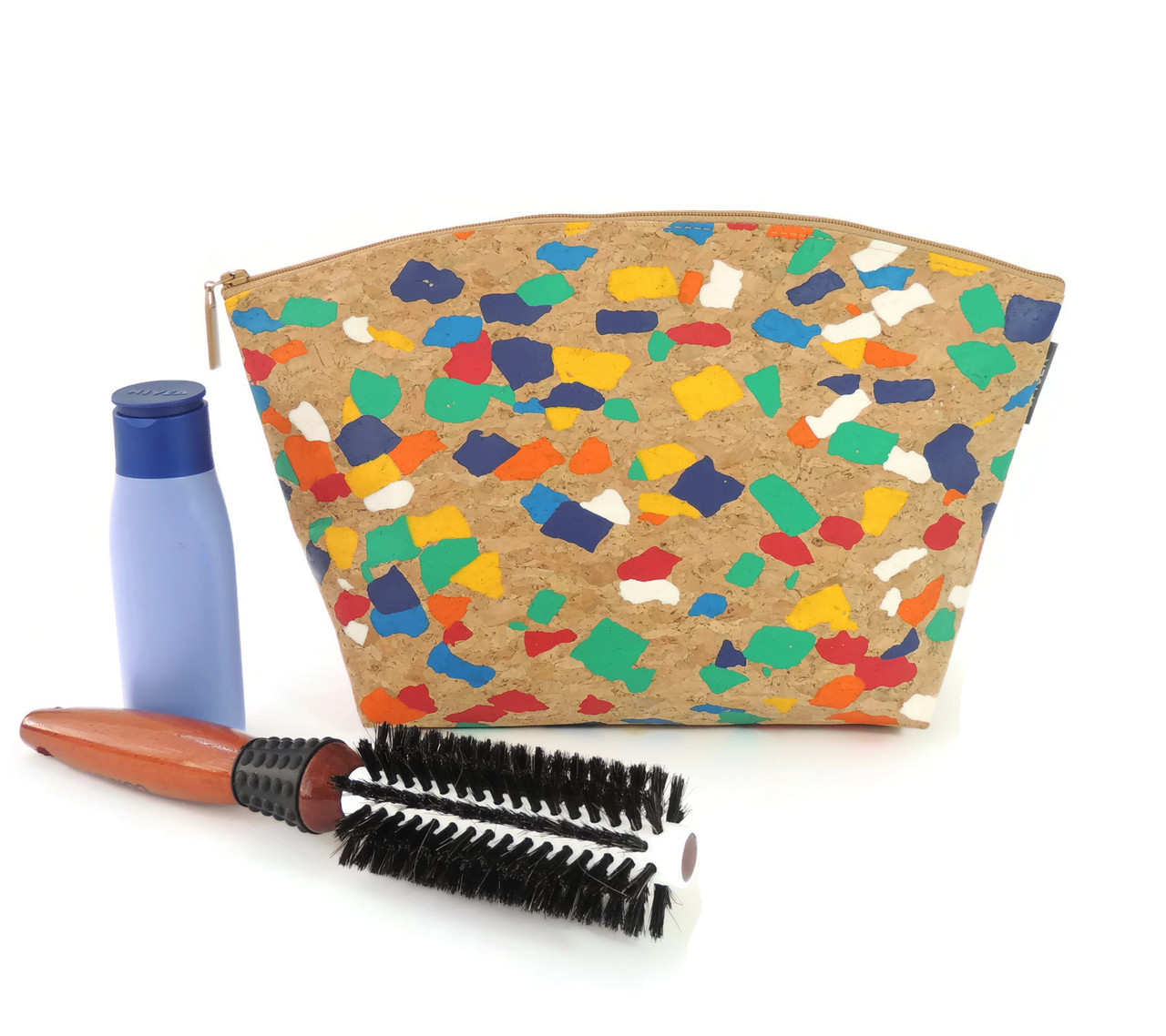Extra Large Standing Pouch in Paint Palette Cork