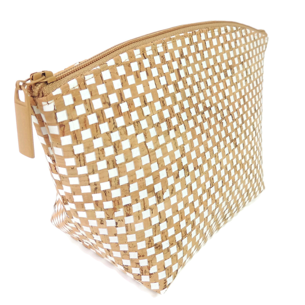 Large Standing Pouch in White Check Cork