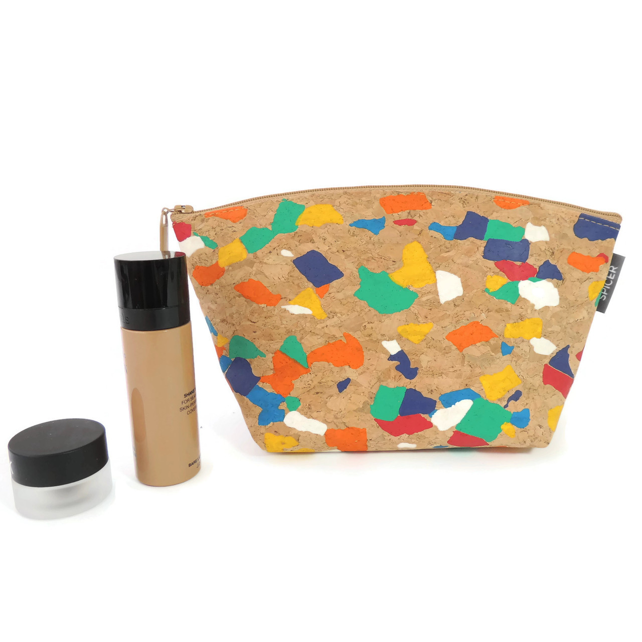 Large Standing Pouch in Paint Palette Cork