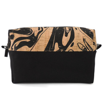 Makeup Bag in Black Ink Cork with Black Canvas