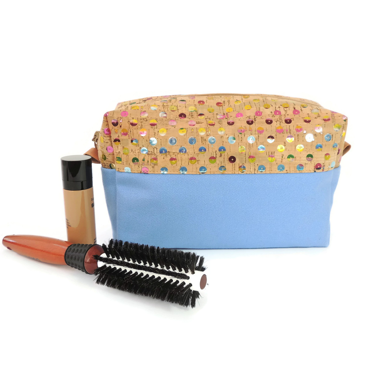 Makeup Bag in Sequin Cork with Sky Blue Canvas