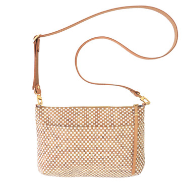 Crossbody Purse in White Check Cork