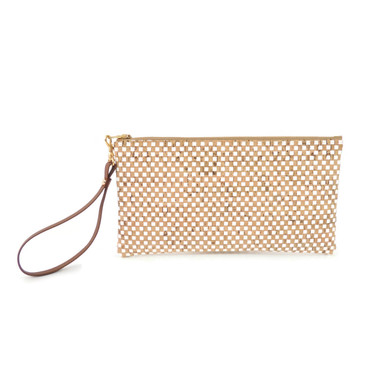 Wristlet in White Check Cork