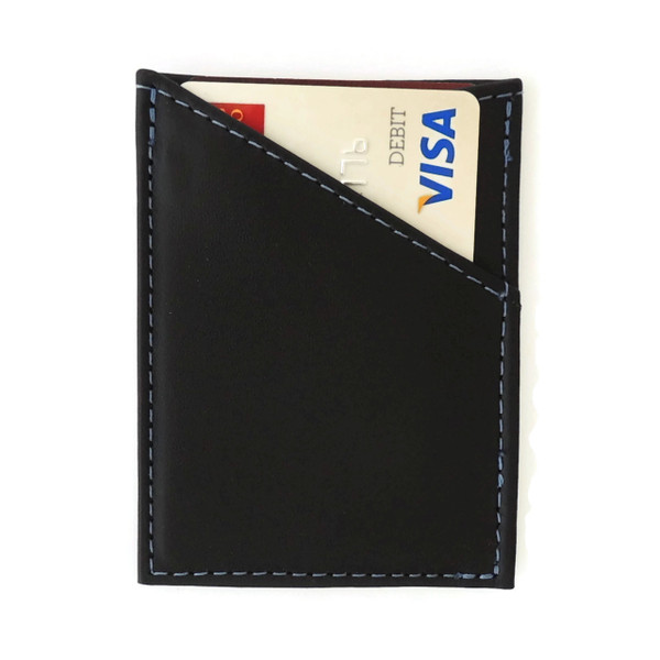 Card Case in Black Leather with Blue Stitching