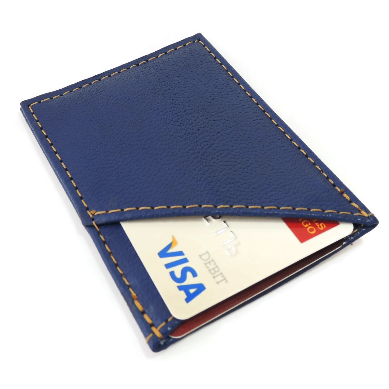 Card Case in Blue Leather