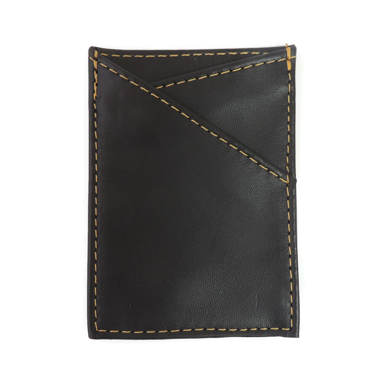 Card Case in Black Leather with Yellow Stitching