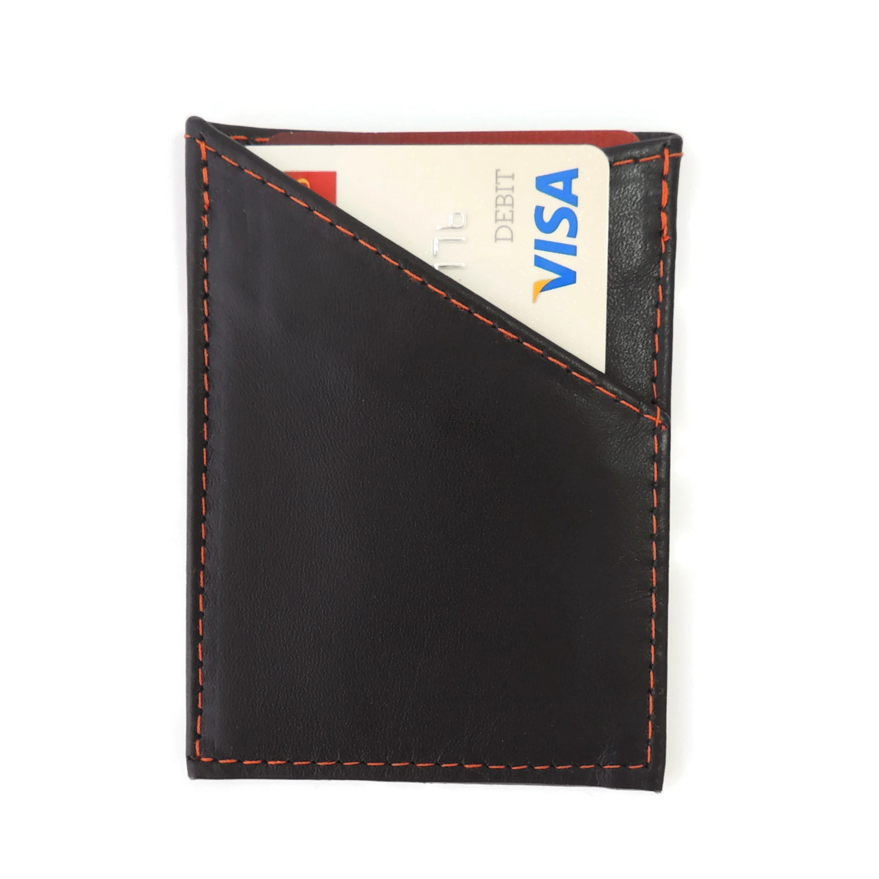 Card Case in Black Leather with Orange Stitching