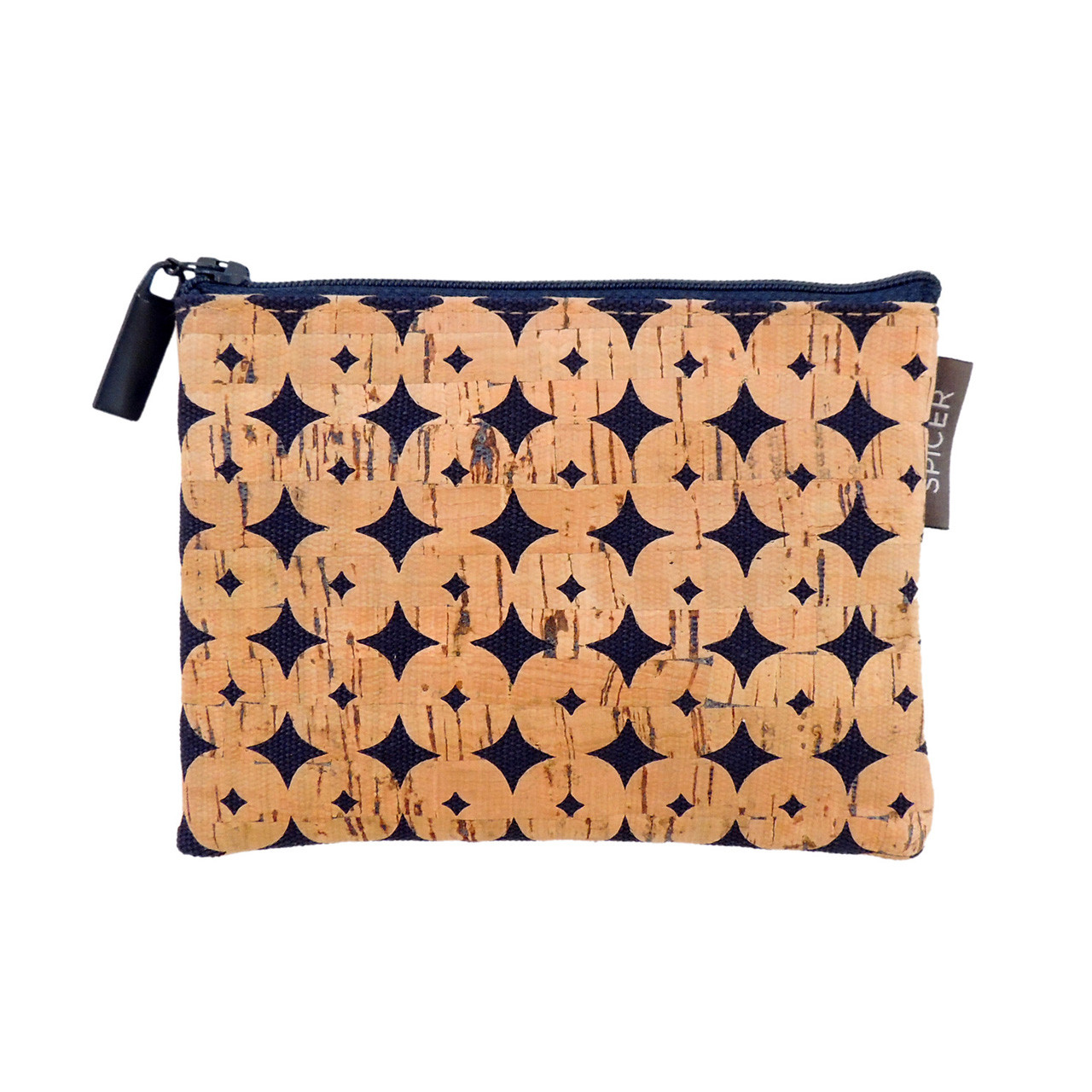 Cork Mini Pouch in Navy Cork Dots