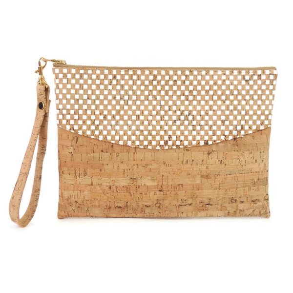 Smile Clutch in White Check Cork