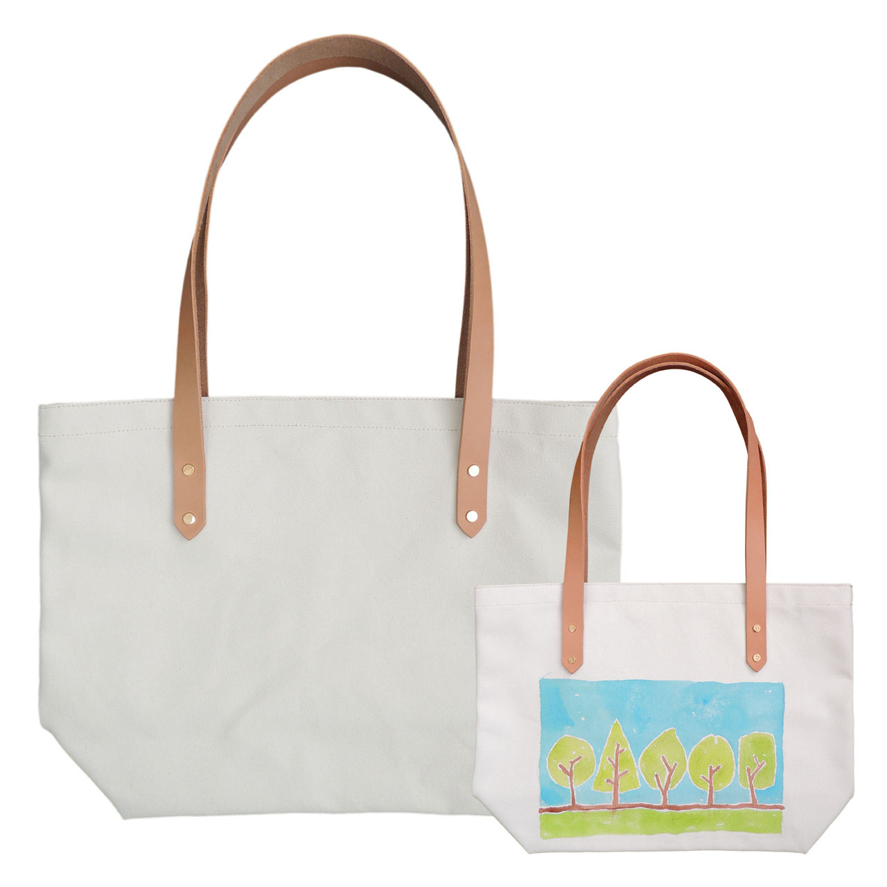 Paintable Canvas Tote with Leather Straps | Spicer Bags