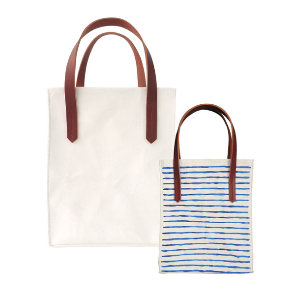P.I.Y Primed Canvas Simple Tote with Leather Straps