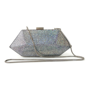 Evening Clutch in Silver Prismatic