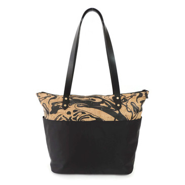 Travel Tote in Black Ink Cork and Black Nylon