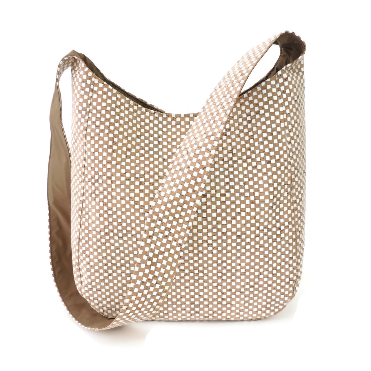 Sling Bag in White Check Cork