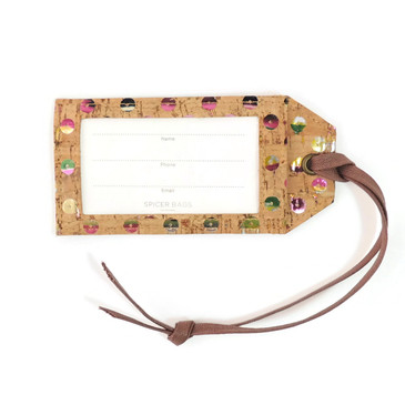 Luggage Tag in Sequin Cork