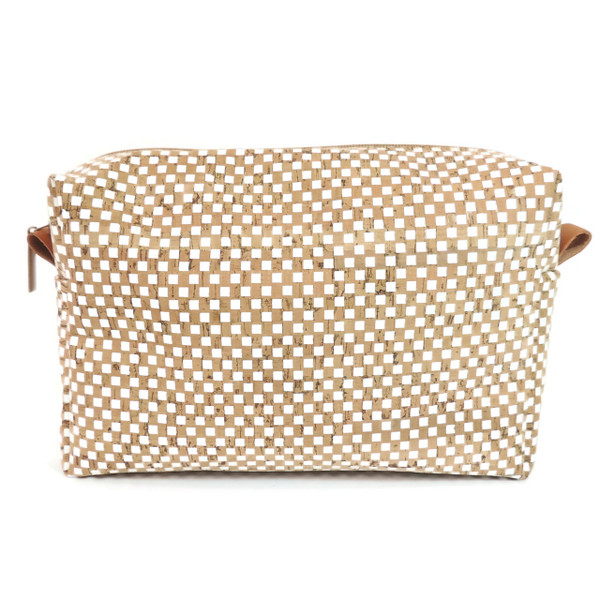 Toiletry Bag in White Check Cork