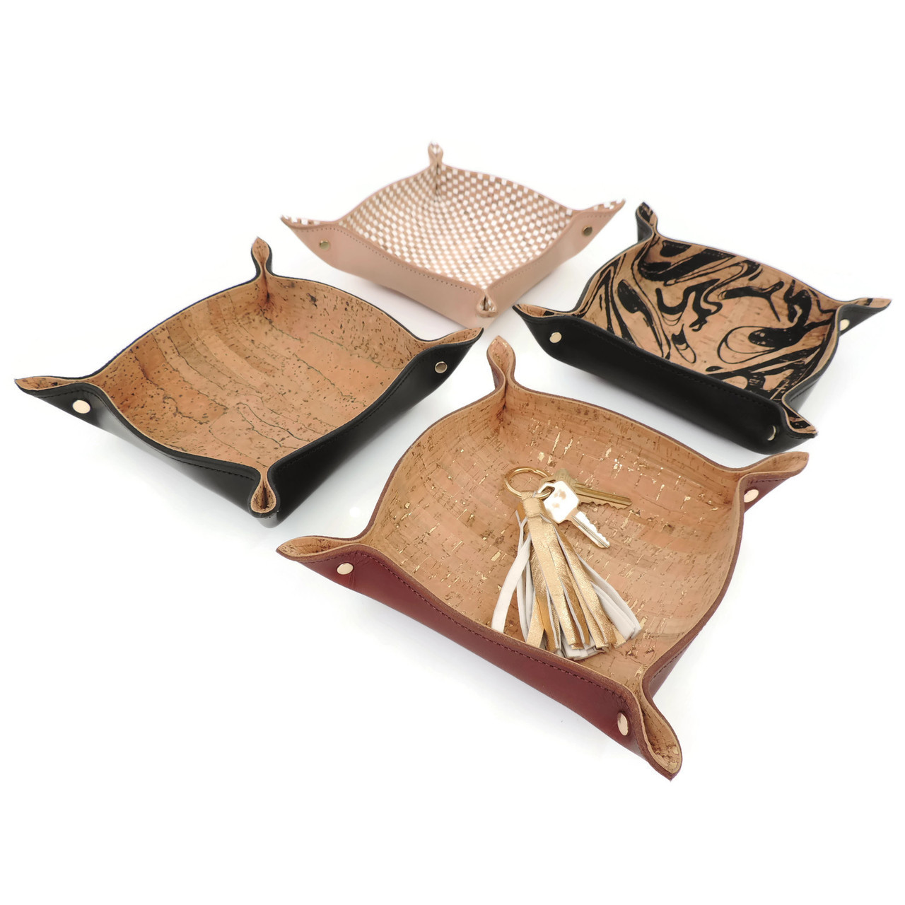 Leather Catchall Tray with Cork Dash Gold