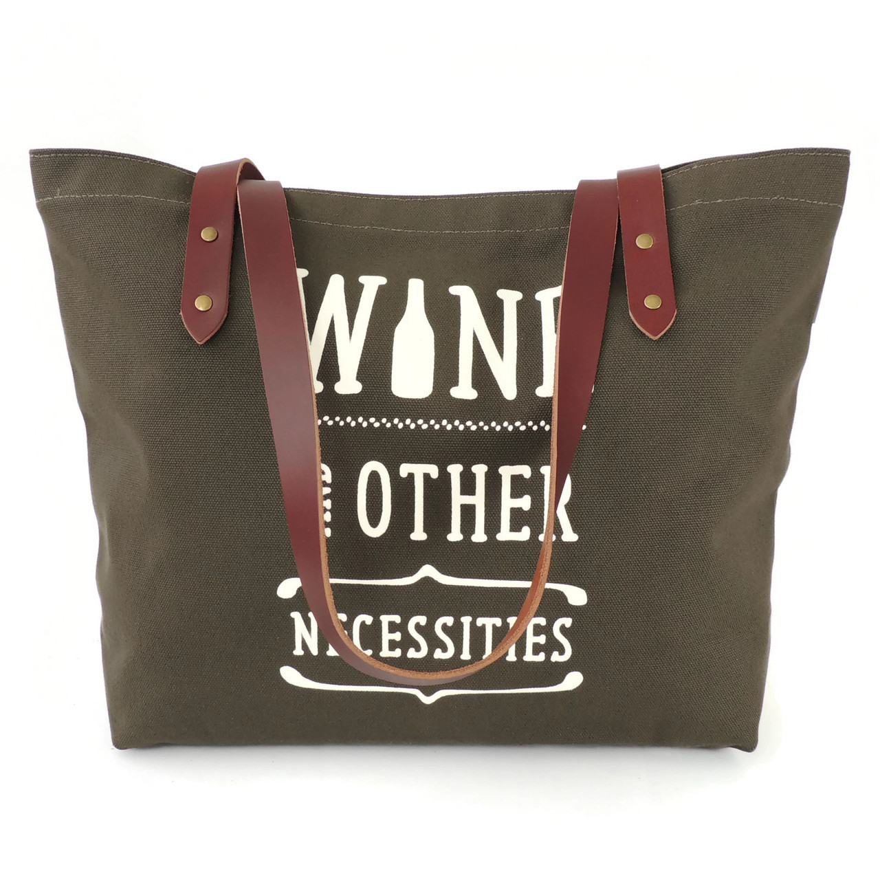 Wine & Other Necessities Canvas Market Tote in Olive