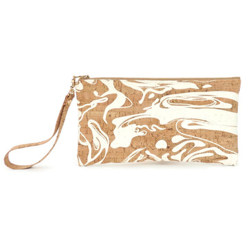 Wristlet in White Ink Cork
