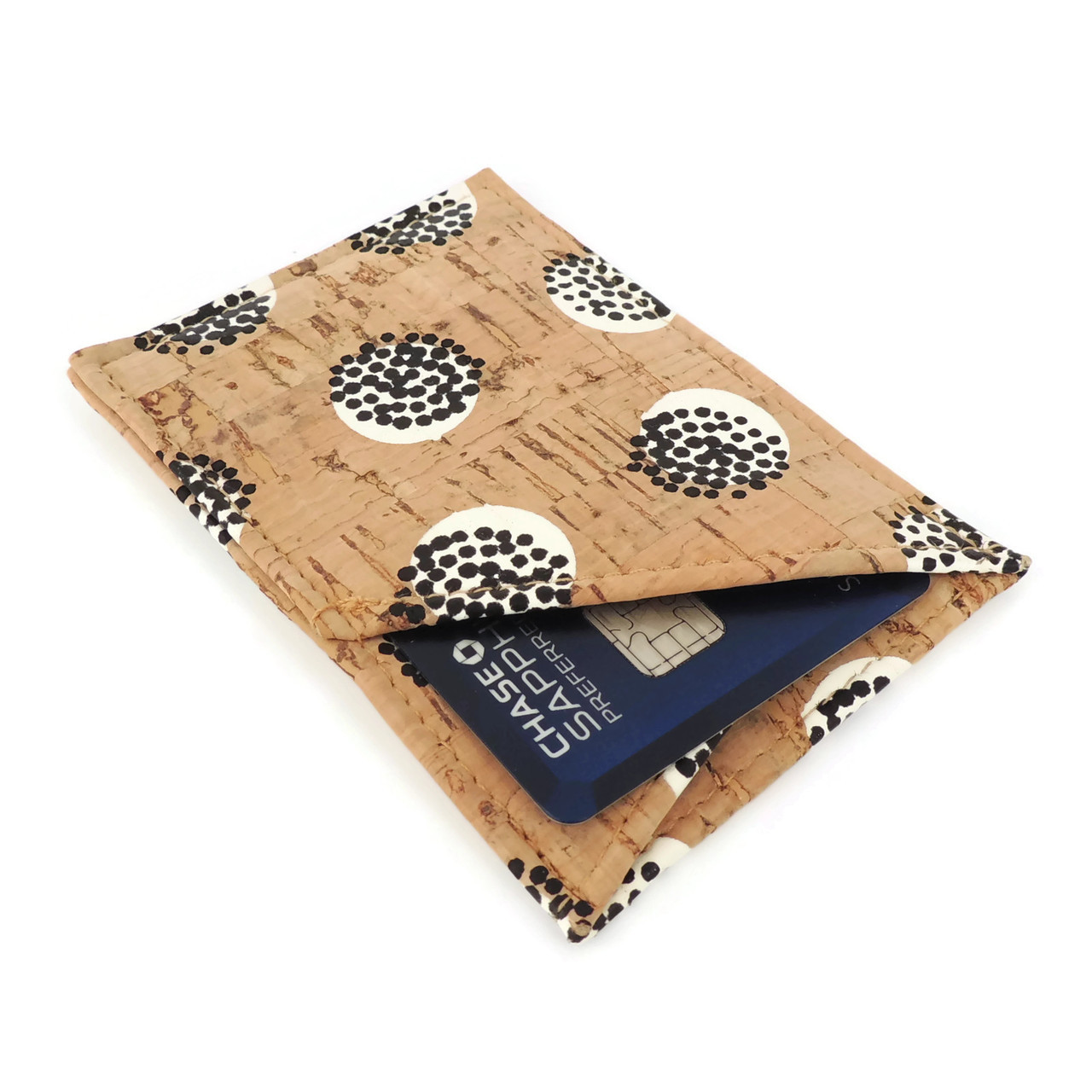 Card Case in Black Dandelion Cork