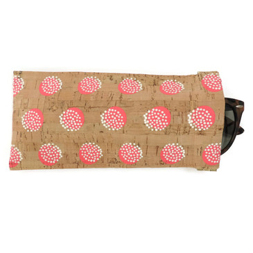 Eyeglass Case in Pink Dandelion Cork
