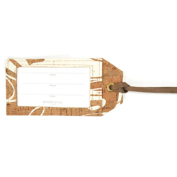 Luggage Tag in White Ink Cork
