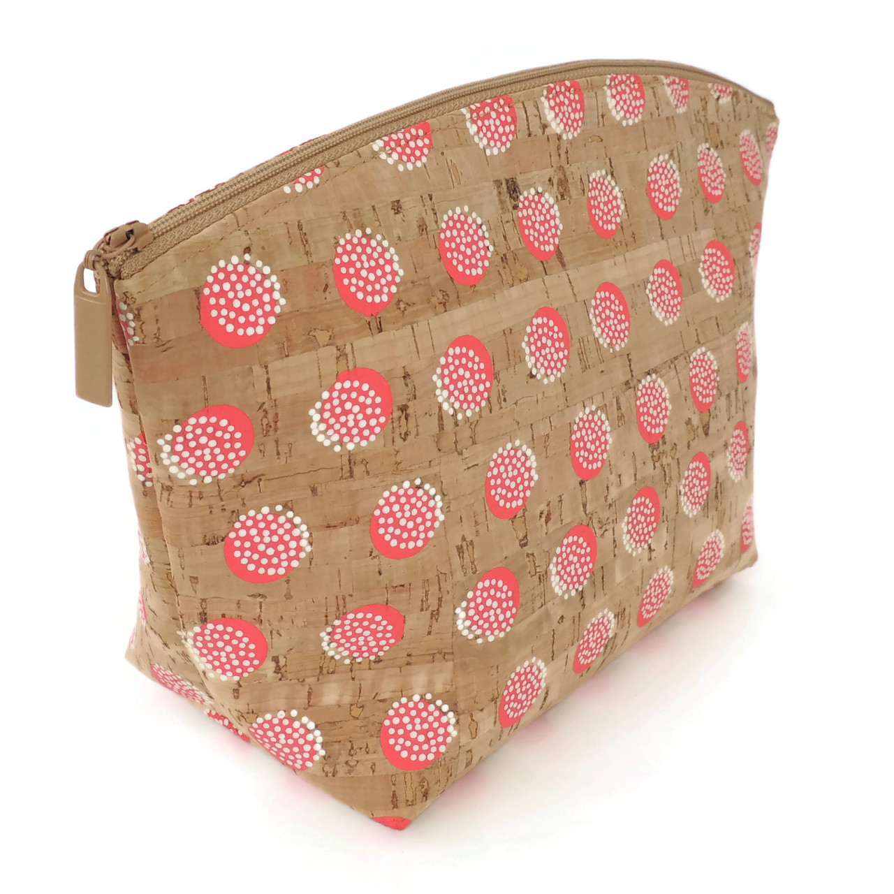 Large Standing Pouch in Pink Dandelion Cork