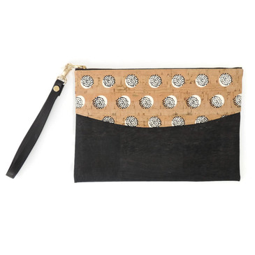 Smile Clutch in Black Dandelion Cork