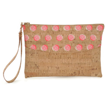 Smile Clutch in Pink Dandelion Cork
