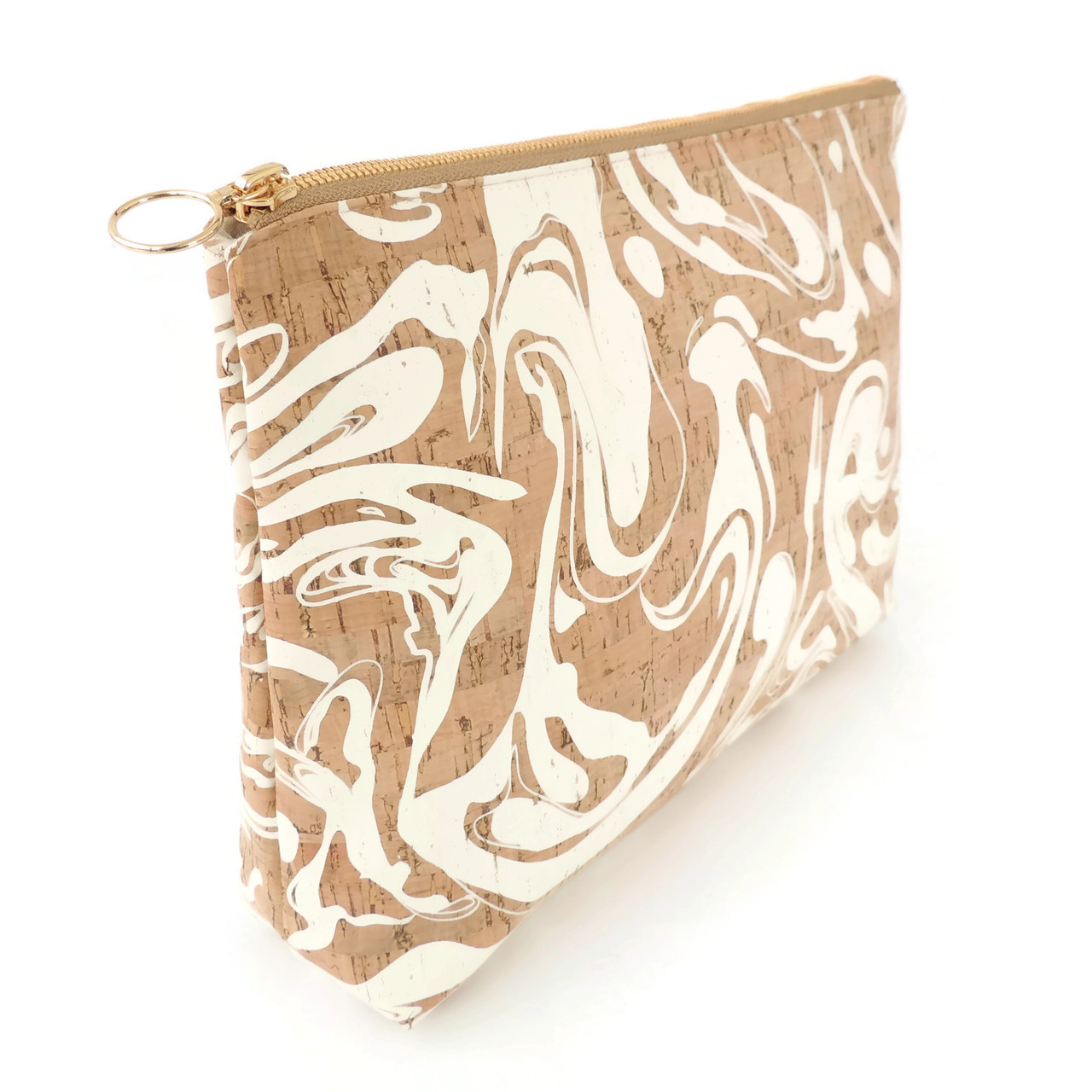 Carryall Clutch in White Ink Cork
