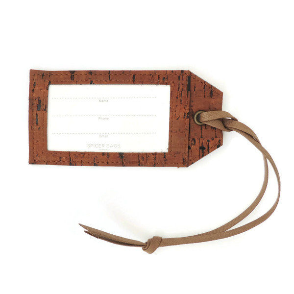 Luggage Tag in Cork Dash Brown