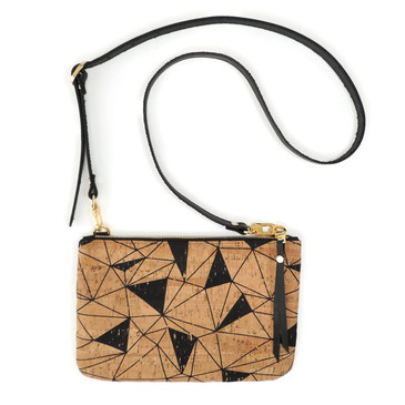 Cork & Leather Crossbody Purse in Geo Cork