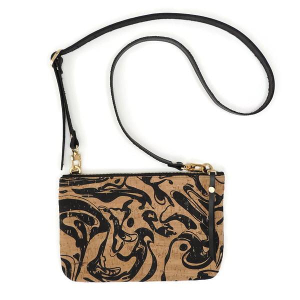 Cork & Leather Crossbody Purse in Black Ink Cork