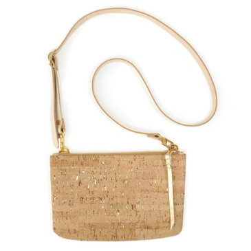 Cork & Leather Crossbody Purse in Cork Dash Gold