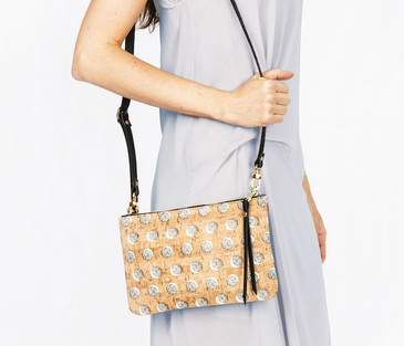 Cork & Leather Crossbody Purse in  Black Dandelion Cork