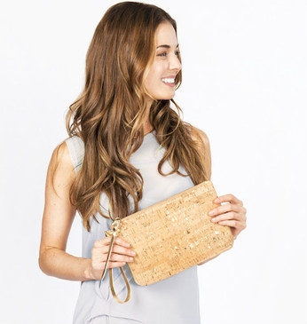 Cork & Leather Wristlet in Cork Dash Gold