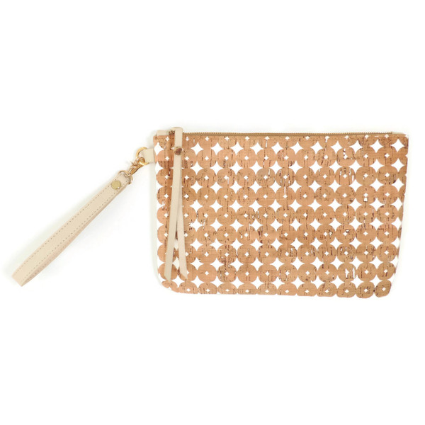 Cork & Leather Wristlet in Cork Dots