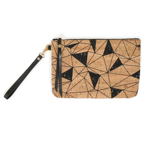 Cork & Leather Wristlet in Geo Cork