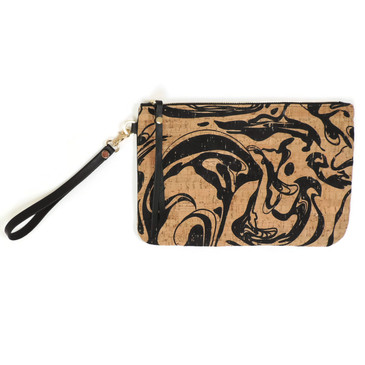 Cork & Leather Wristlet in Black Ink Cork