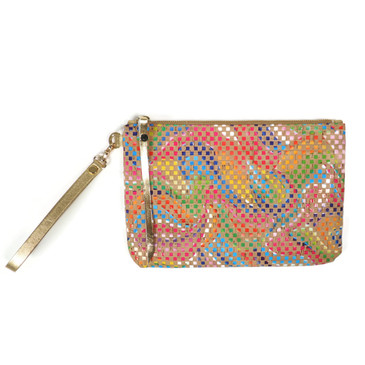 Cork & Leather Wristlet in Mosaic Cork