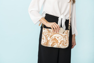 Crossbody Purse in White Ink Cork