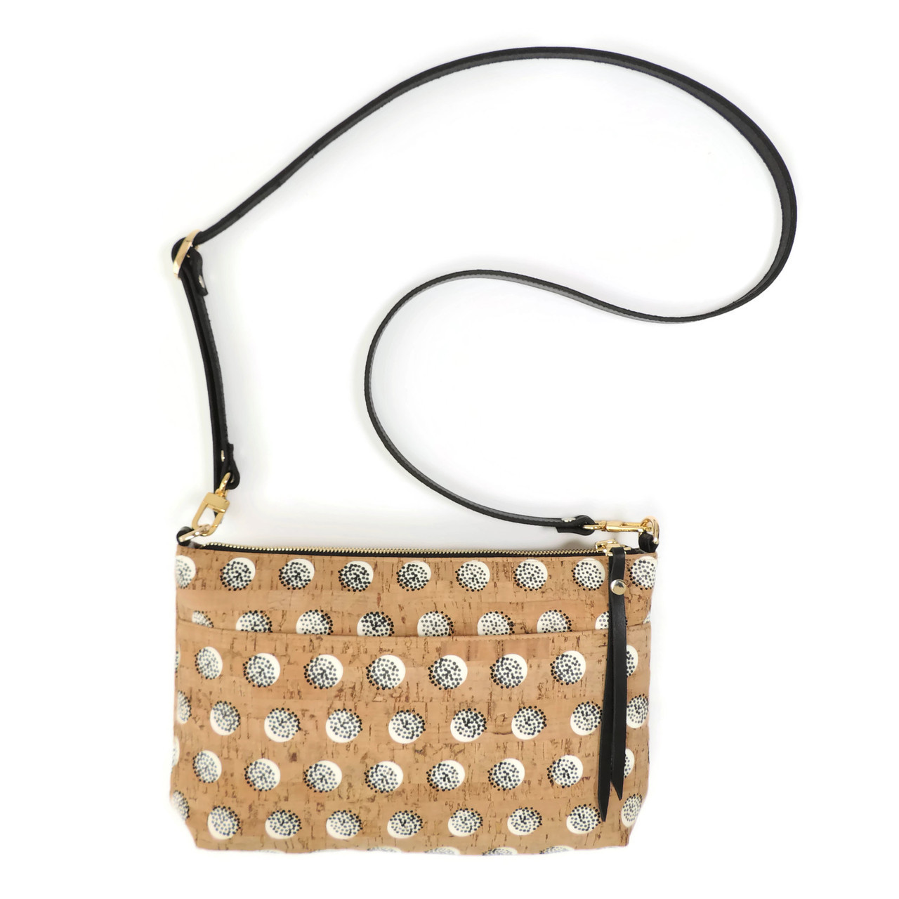 Crossbody Purse in Black Dandelion Cork