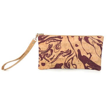 Wristlet in Maroon Ink Cork